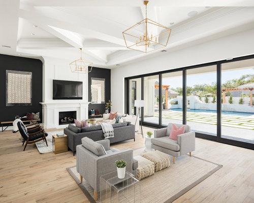 Delightful Living Room   Transitional Open Concept Light Wood Floor And Beige Floor  Living Room Idea In