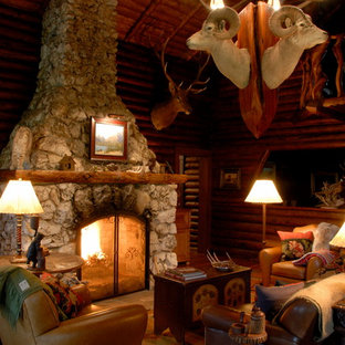 Living room - small rustic enclosed living room idea in Other with brown walls, a standard fireplace and a stone fireplace