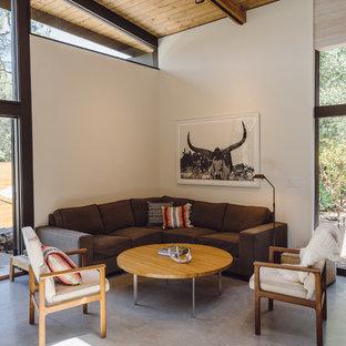 Cette photo montre un salon sud-ouest américain de taille moyenne et ouvert avec un mur blanc, béton au sol, aucun téléviseur, un sol gris et aucune cheminée.