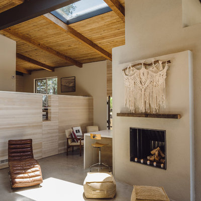 Mid-sized trendy open concept concrete floor and gray floor living room photo in Los Angeles with white walls, a standard fireplace, a plaster fireplace and no tv