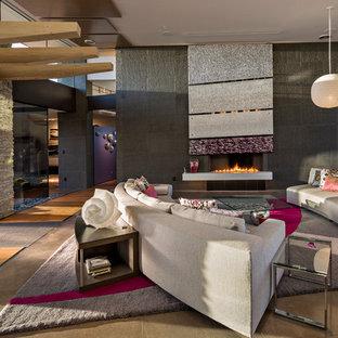 Esempio di un grande soggiorno design aperto con sala formale, pavimento in cemento, nessuna TV, pavimento grigio, camino lineare Ribbon, pareti bianche e cornice del camino in pietra