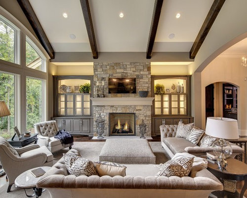 Transitional Home Decor modern decor meets classical features in two transitional home designs 10145 Transitional Living Room Design Photos With A Stone Fireplace Surround