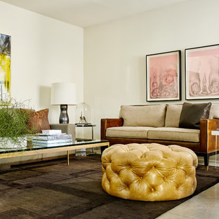 Living room - contemporary living room idea in Dallas with white walls, no fireplace and no tv