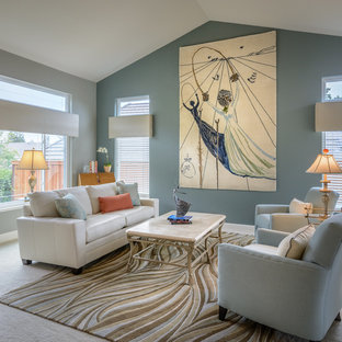 Living room - large transitional open concept carpeted living room idea in San Francisco with blue walls