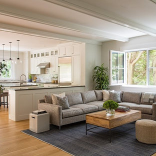 Living room - mid-sized transitional open concept medium tone wood floor and brown floor living room idea in Boston with white walls