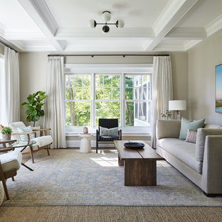 Coastal Formal Living Room Photo In Boston With Gray Walls