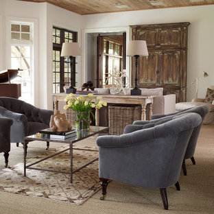 Example of a huge transitional living room design in Houston with a music area
