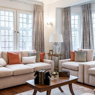 Design ideas for a medium sized contemporary formal enclosed living room in London with white walls and medium hardwood flooring.