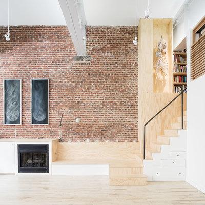 Nice Industrial Living Room by Jeff Jordan Architects LLC