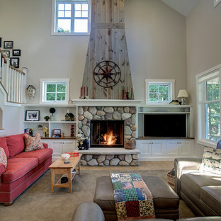 Medium sized rural mezzanine living room in Other with a reading nook, beige walls, lino flooring, a standard fireplace, a stone fireplace surround and a wall mounted tv.