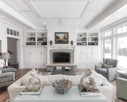 Beach Style Living Room Idea In Other With White Walls A Standard Fireplace And