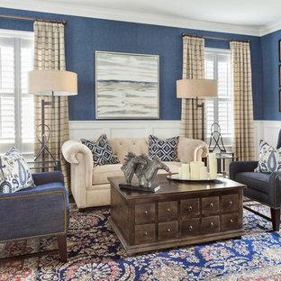 Mid-sized elegant enclosed dark wood floor living room photo in Philadelphia with blue walls