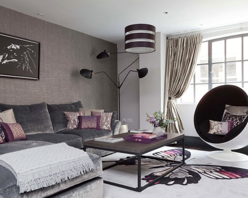 Small Contemporary Open Concept Dark Wood Floor Living Room Idea In London With Gray Walls