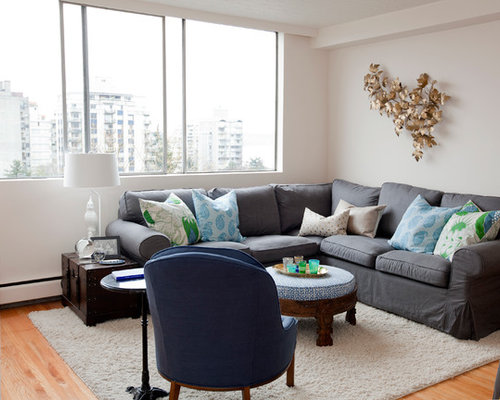 Inspiration For An Eclectic Living Room Remodel In Vancouver With White Walls