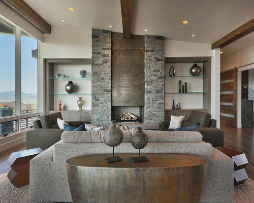 Mid Sized Trendy Formal And Open Concept Dark Wood Floor Living Room Photo In Salt