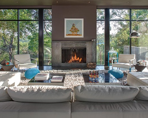 Inspiration for a contemporary living room remodel in Other with gray ...
