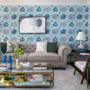 75 Beautiful Living Room With Multicolored Walls Pictures Ideas