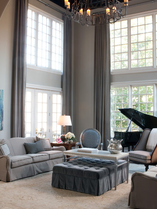 Inspiration for a timeless living room remodel in Atlanta with a music area  and gray walls