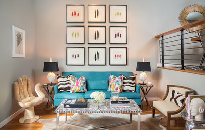 Room of the Day: Jewel Tones Wake Up a Narrow Living Room