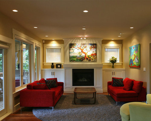 wall color with red couch | houzz