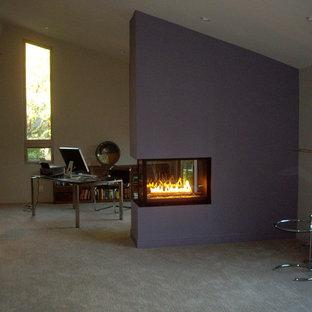 サンフランシスコの中サイズのモダンスタイルのおしゃれな独立型リビング (マルチカラーの壁、カーペット敷き、両方向型暖炉、グレーの床) の写真