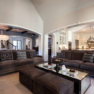 Inspiration for a classic living room in Houston with grey walls.