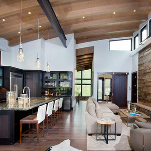 Design ideas for a large rustic open plan living room in Denver with brown walls, dark hardwood flooring, a standard fireplace, a stone fireplace surround and a wall mounted tv.