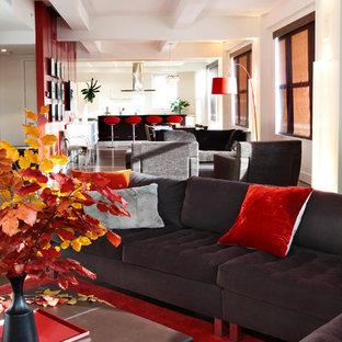 Diseño de salón abierto, moderno, con suelo rojo