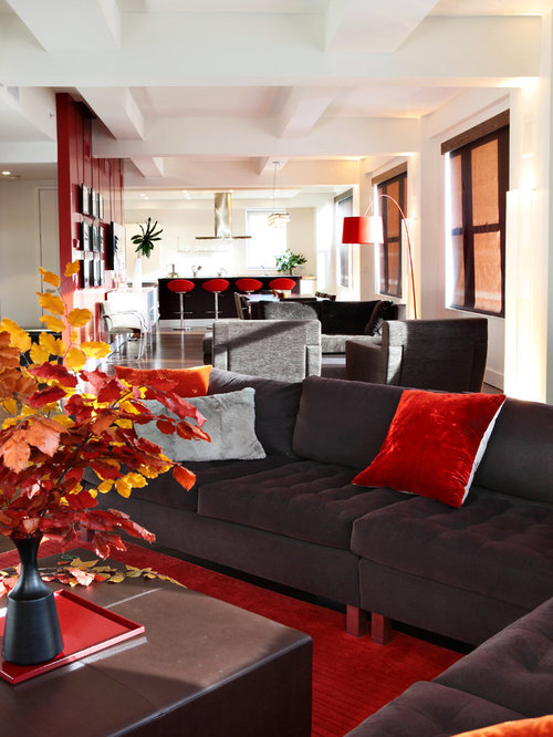 Modern Open Concept Red Floor Living Room Idea In New York