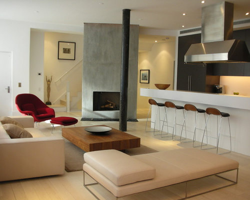 Inspiration For A Contemporary Open Concept Living Room Remodel In New York With Concrete Fireplace