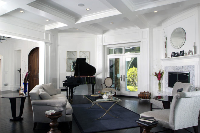 Transitional Living Room by Visbeen Architects