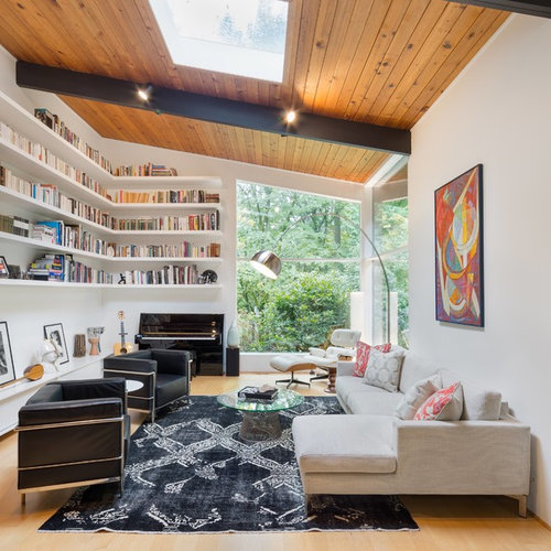 Best Midcentury Living Room with a Music Area Design Ideas