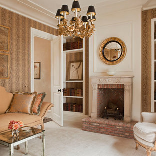 Example Of A Tuscan Living Room Library Design In New York With Standard Fireplace