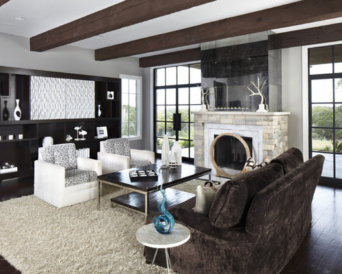 Inspiration For A Contemporary Living Room Remodel In Austin With Gray Walls And Standard Fireplace