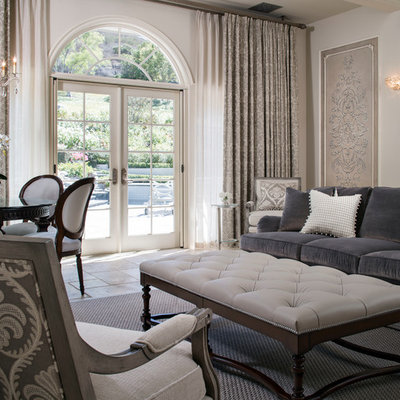 Inspiration for a mid-sized transitional formal and open concept ceramic tile living room remodel in Los Angeles with gray walls, no fireplace and no tv