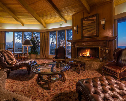 large mountain style formal and open concept carpeted and brown floor living room photo in los save photo lushar interior design - Rustic Interior Design Ideas