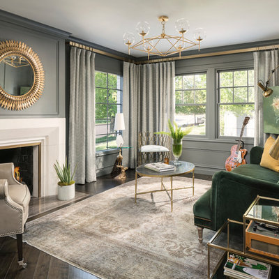 Elegant dark wood floor living room photo in Salt Lake City with a music area, gray walls, a standard fireplace and no tv