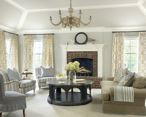 Traditional Plain Offwhite Curtains Living Room Design Ideas Remodels