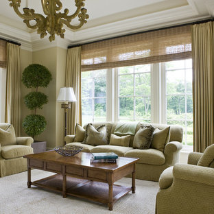 Elegant Carpeted Living Room Photo In Boston With Green Walls