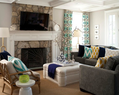 Grey sofa home design ideas renovations photos - Houzz living rooms with sectionals ...