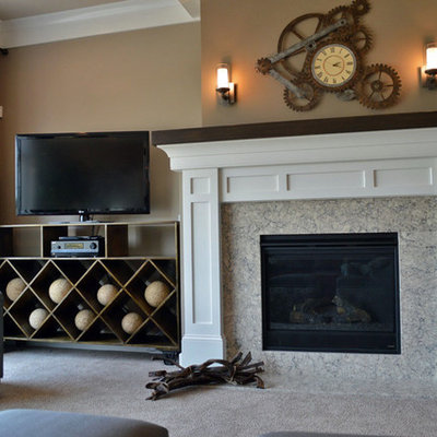Eclectic living room photo in Other with a standard fireplace