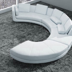 White Bonded Leather Curved Sectional Sofa Set - Features:
