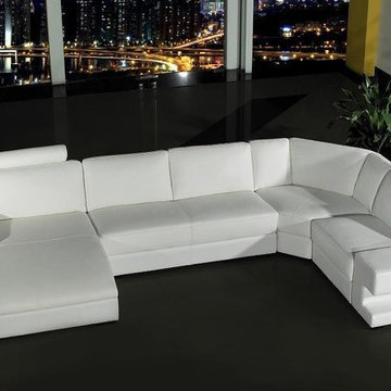 White Bonded Leather Sectional Set with Adjustable Headrests