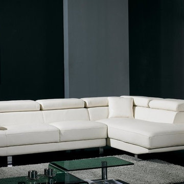 White Bonded Leather Sectional Sofa with Adjustable Headrests and Arm