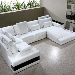 White Bonded Leather Sectional Sofa with Built-in Lights - Features: