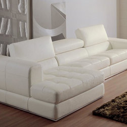 White Bonded Leather Sectional Sofa with Chaise - Features:
