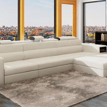 White Bonded Leather Sectional Sofas