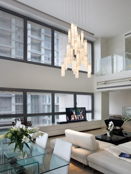 contemporary living room chandelier modern lighting two story great room