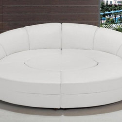 "White Circular Leather Sectional Sofas - Modern White Leather Circular Sectional Sofa is a unique sectional sofa that will add an extraordinary look to your living space. It features wood frame in white leather finish, which combined with durable leather match material and high-density foam padding. All corners are ""blocked"", nailed, and glued for strength and durability. With its special circular design, high quality material and comfort, this piece are guaranteed to impress your friends and family. It includes a circular ottoman in the middle and two other comfortable leather pieces. Arrange it as a circle or any way you like and live your life in comfort and style."