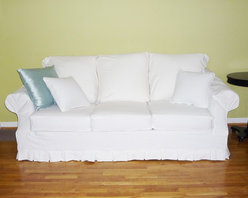 White Denim Sofa Slipcover -
